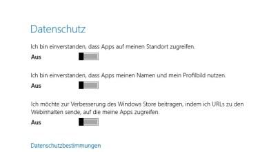 Photo of Windows 8 Datenschutz Einstellungen