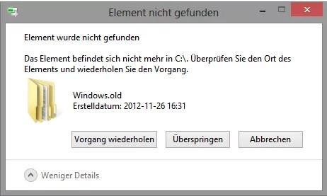 Windows.old löschen unter Windows 8 0