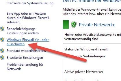 Windows-Firewall ein- oder ausschalten