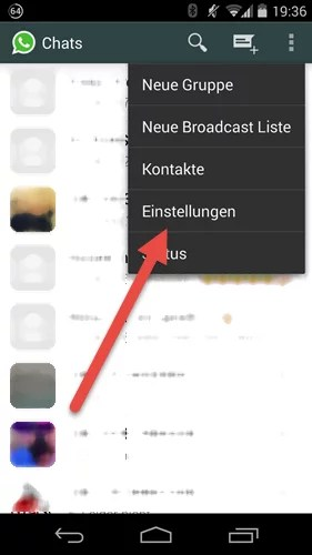 AndroidTelefonnummer in WhatsApp einstellungen