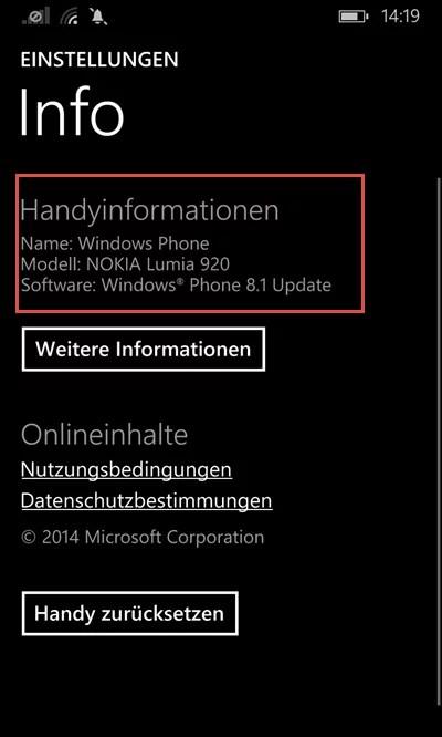 Windows Phone Handyinformationen