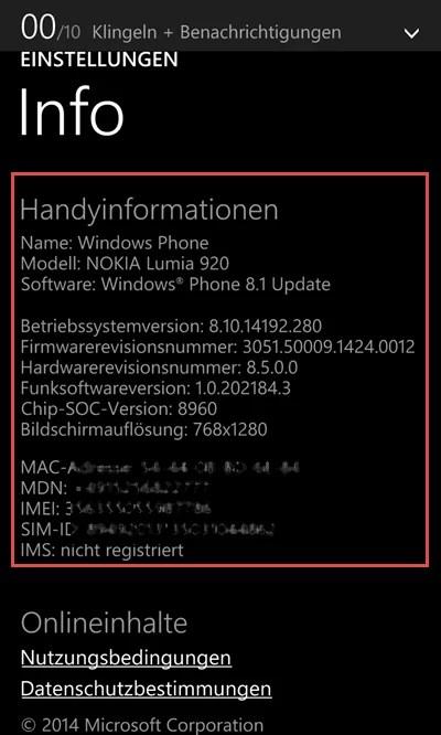 Windows Phone Weitere Informationen