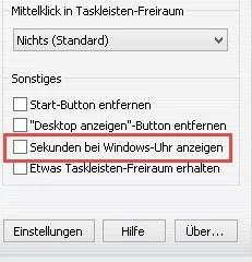 Sekunden bei Windows-Uhr anzeigen