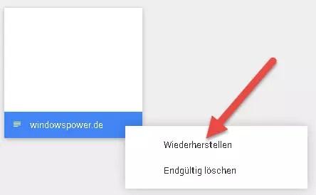 wiederherstellen Datei Google Drive