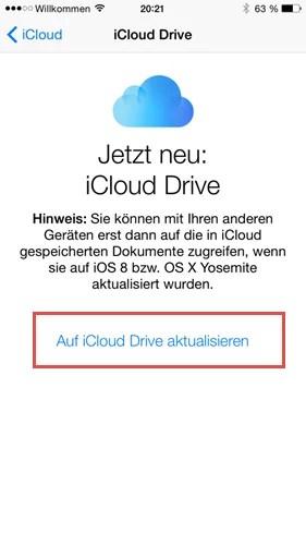 Auf iCloud Drive aktualisieren