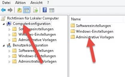 Computerkonfiguration  Administrative Vorlagen