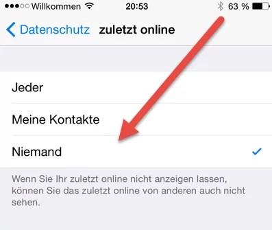 iPhone zuletzt online deaktivieren