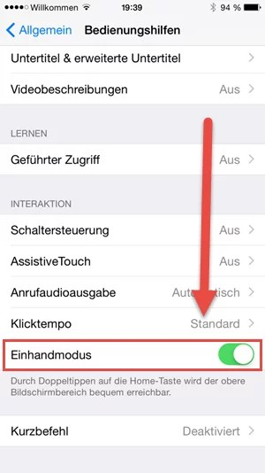 Einhandmodus iphone