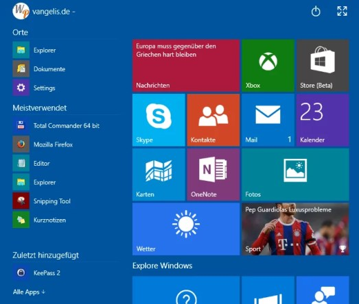 altes startmenue windows 10
