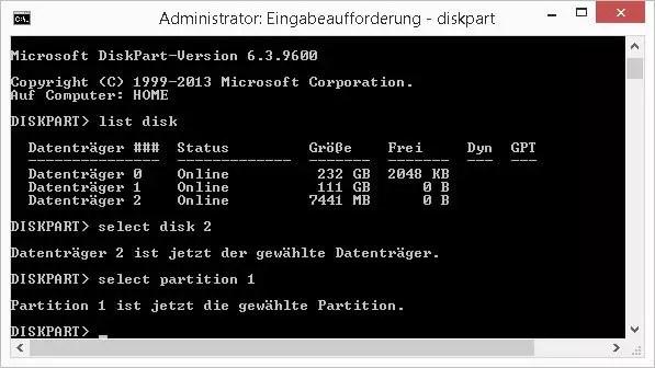 select partition 1