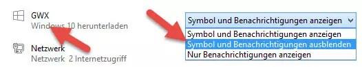 GWX Symbol und Benachrichtigungen ausblenden