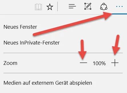 Browser Edge Die Zoom-Funktion