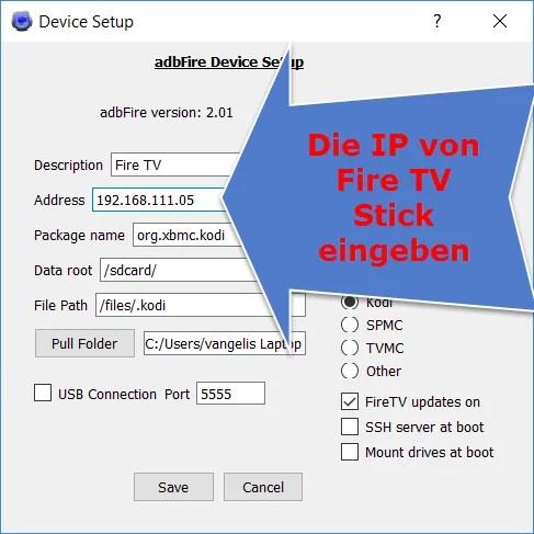 adbFire IP eingeben
