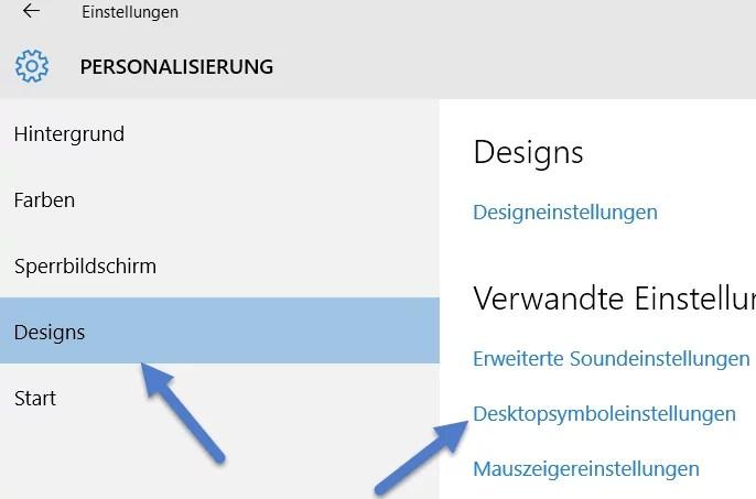 desktopsymbolenstellungen