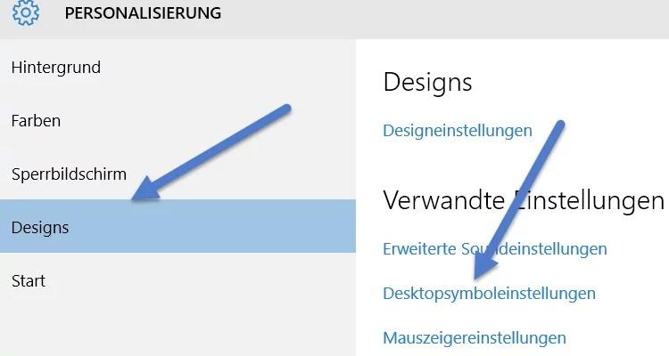 Desktopsymboleinstellungen