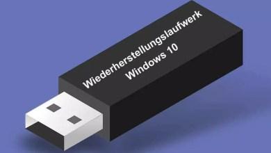 Wiederherstellungslaufwerk erstellen bei Windows 10 0