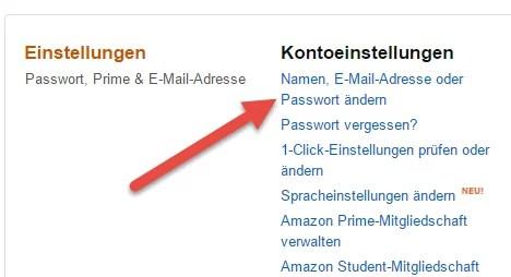 email passwort aendern amazon