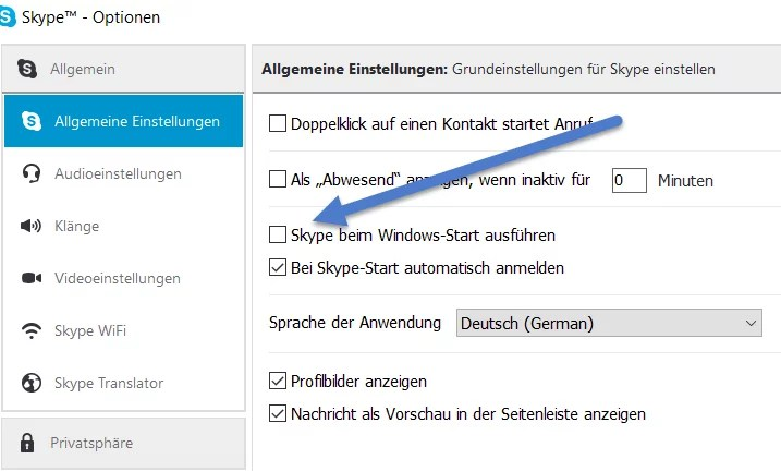 Skype bei Windows-Start ausfuehren