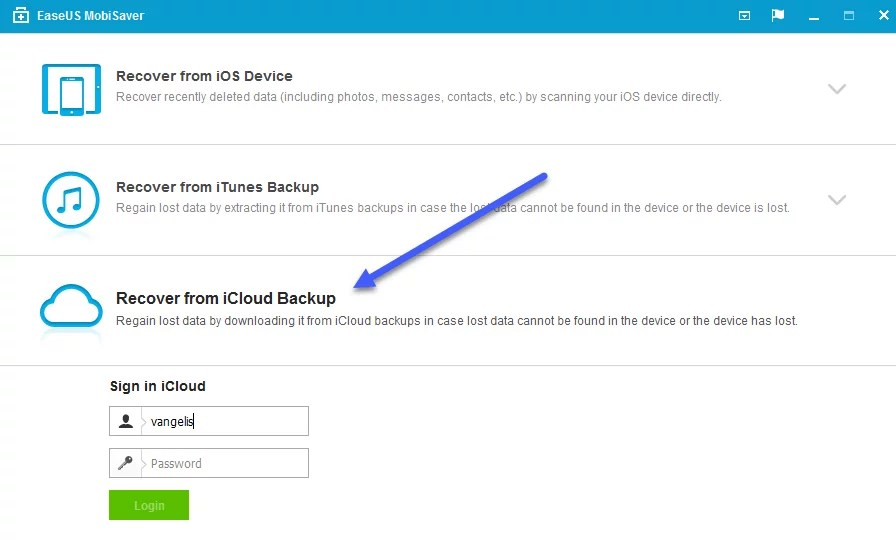 recover from iCloud Backup