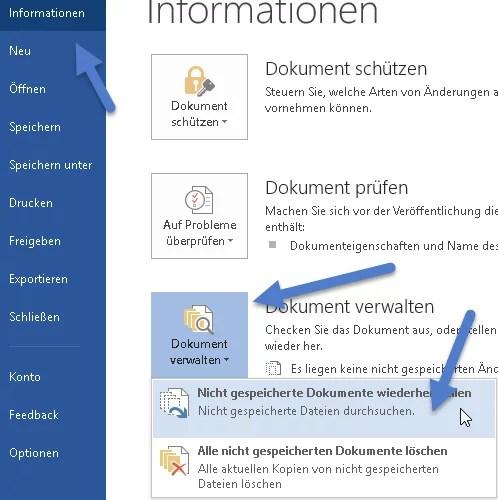 Word - Nicht gespeicherte Dokumente wiederherstellen