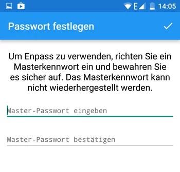enpass master passwort eingeben