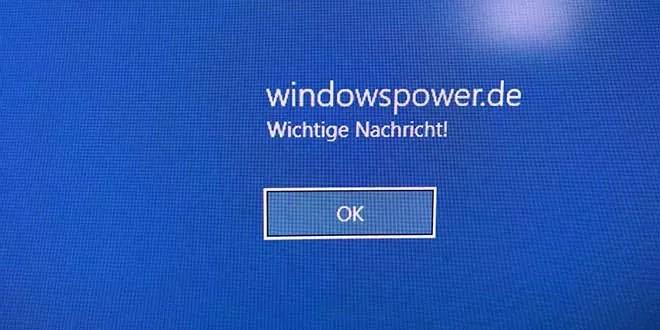 windows 10 eigene Nachricht