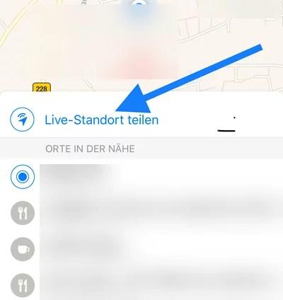 Live-Standort teilen