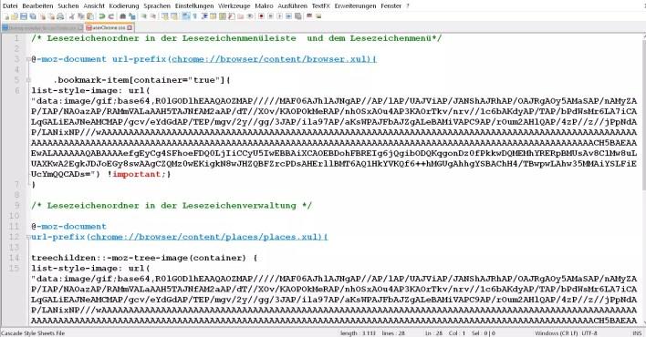 code in userchrome.css