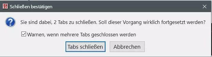 Firefox Warnmeldung deaktivieren beim Schließen von: Andere Tabs schließen 2