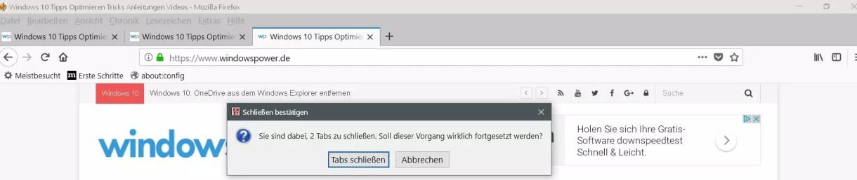Firefox Warnmeldung deaktivieren beim Schließen von: Andere Tabs schließen 1