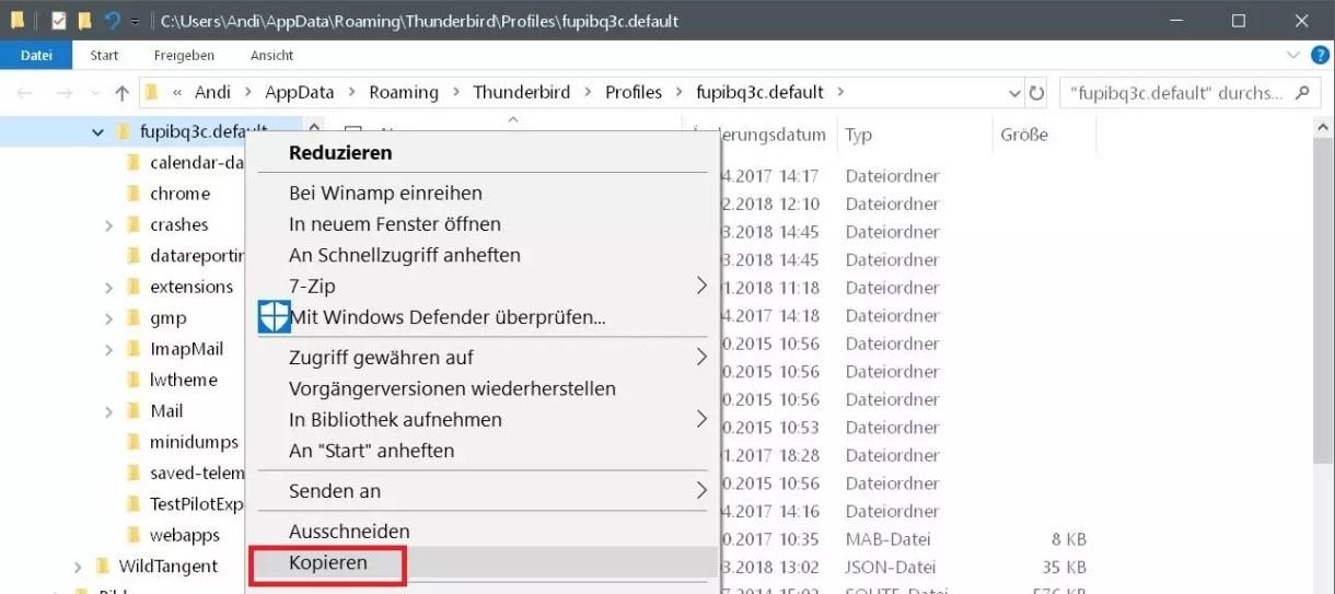 Mit Thunderbird auf einen neuen PC umziehen 3