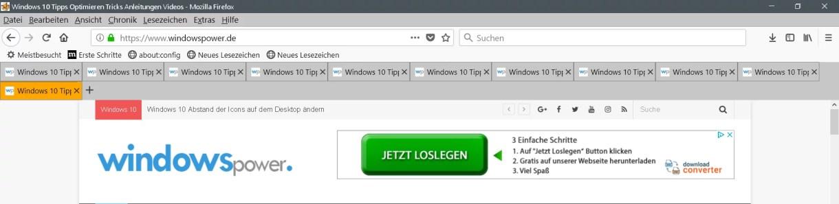 Mehrreihige Tableiste im Firefox 2