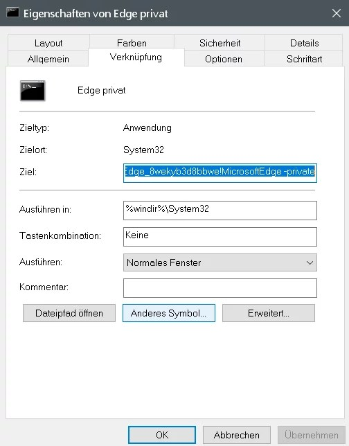 InPrivate-Modus dauerhaft im Edge Browser nutzen 4