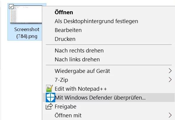 Mit Windows Defender überprüfen aus dem Kontextmenü entfernen 0
