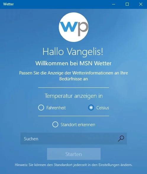 Windows 10 Wetter anzeigen