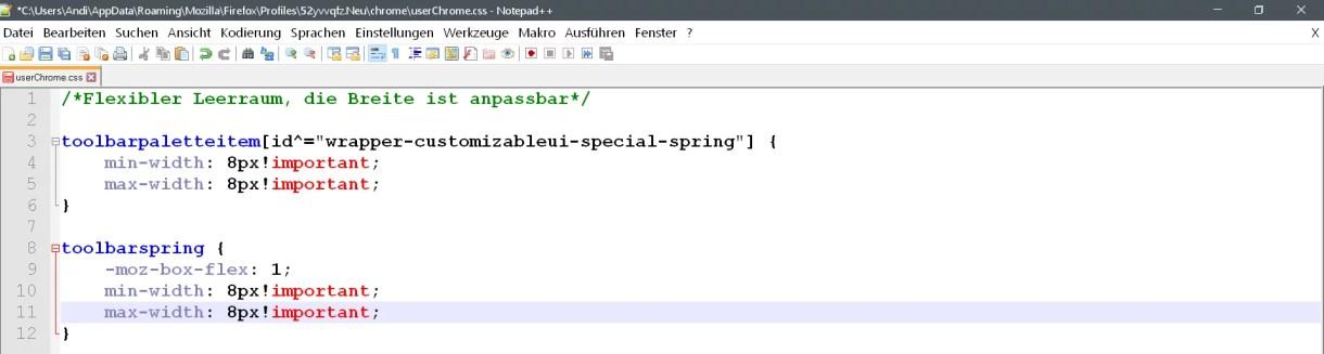 Flexiblen Leerraum die Breite anpassen im Firefox 2