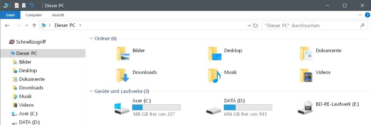 Laufwerke im Schnellzugriff anzeigen Windows 10 0