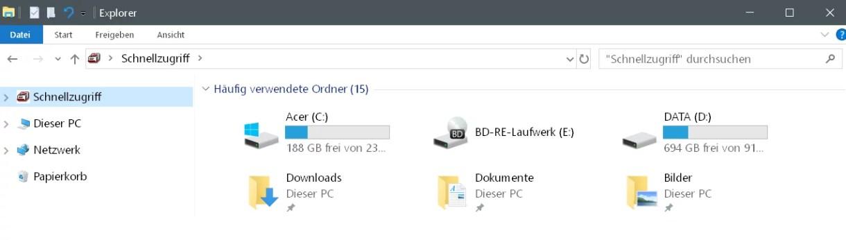 Laufwerke im Schnellzugriff anzeigen Windows 10 11