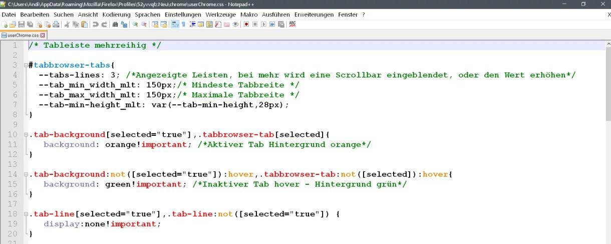 Mehrreihige Tableiste ab Firefox Version 65 0