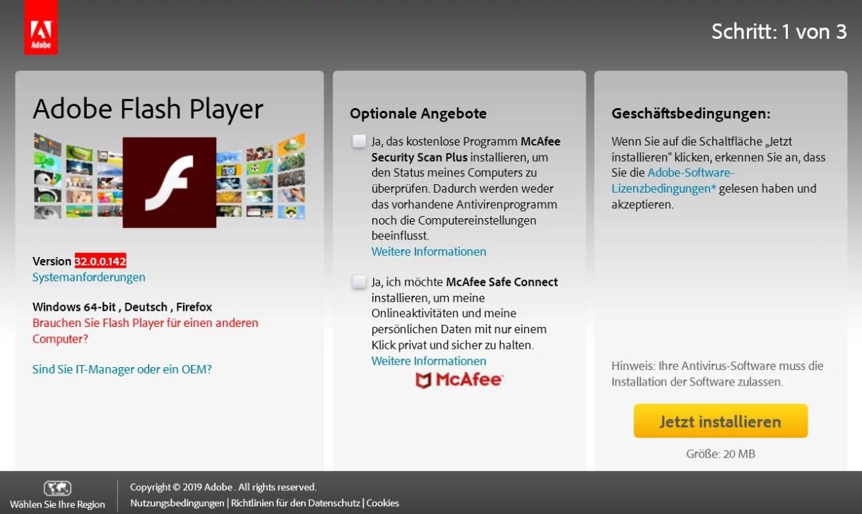 Adobe Flash Player die neue Version 32.0.0.142 ist erschienen 0