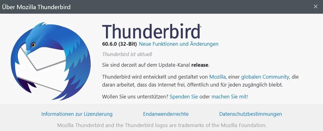 Thunderbird Version 60.6.0 ist erschienen 0