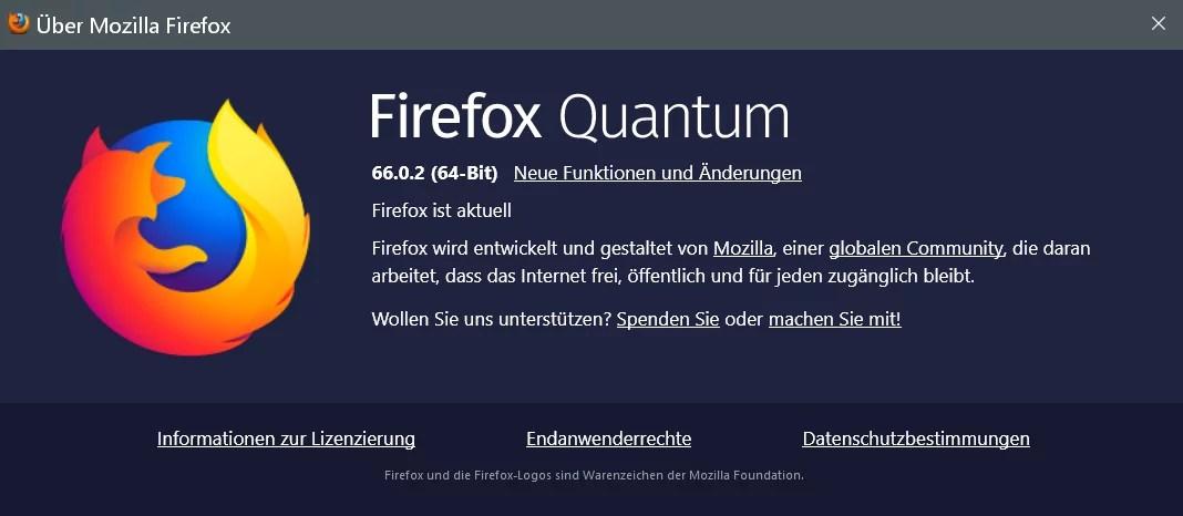Firefox Version 66.0.2 ist erschienen und steht zum Download bereit 0