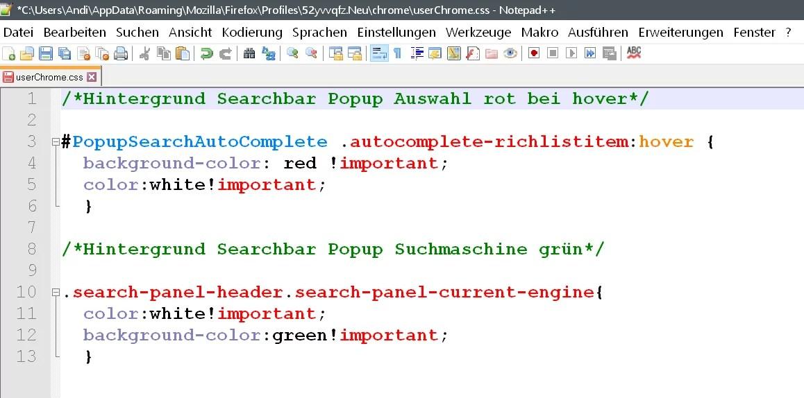 Suchleisten Popup – Einträge deutlicher hervorheben in Firefox 1