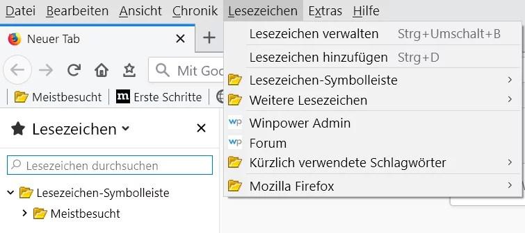 Firefox 66 – Gelbes Icon für die Lesezeichenordner 2