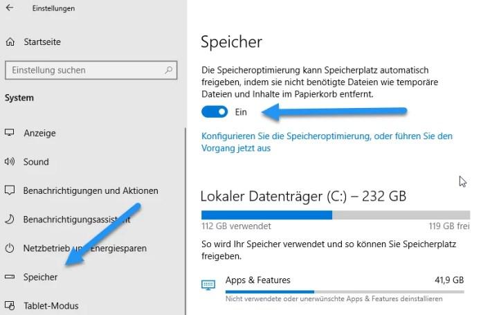 Speicheroptimierung Temporäre Dateien automatisch löschen