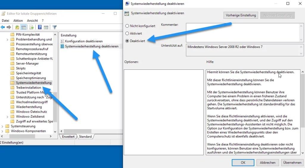 Systemwiederherstellung deaktivieren verhindern bei Windows 10 1