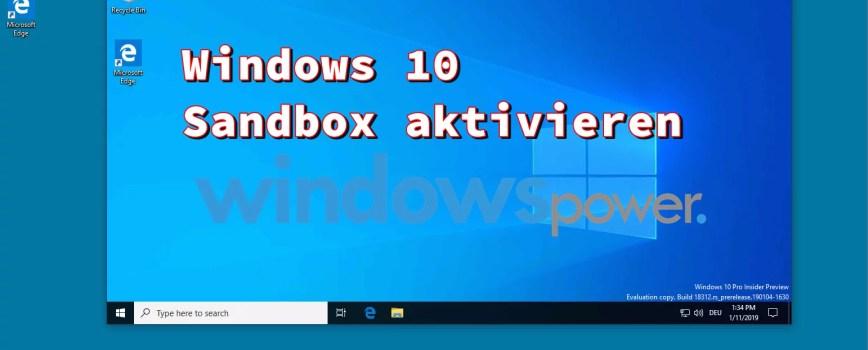 windows 10 sandbox startbildschirm