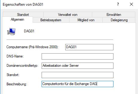Beschreibung für das DAG-Konto hinzufügen
