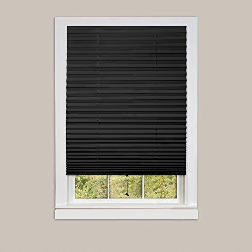 "Achim Home Furnishings 1-2-3 Vinyl Room Darkening Temporary Pleated Window Shade, 36"" by 75"", black, 36 X 75"""
