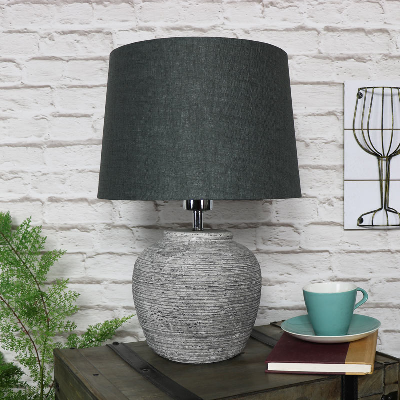 Rustic Grey Stone Round Table Lamp Windsor Browne